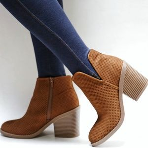 New Cognac Perforated Booties Ankle Boots